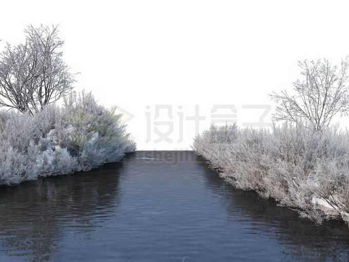 冬天被积雪覆盖的灌木丛和大树以及潺潺流水的小河风景5544573免抠图片素材免费下载