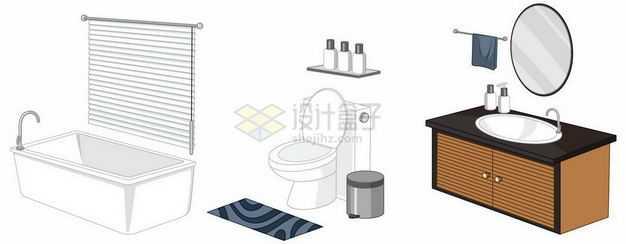 浴缸抽水马桶和洗脸盆洗脸台等卫生间设施6653163矢量图片免抠素材