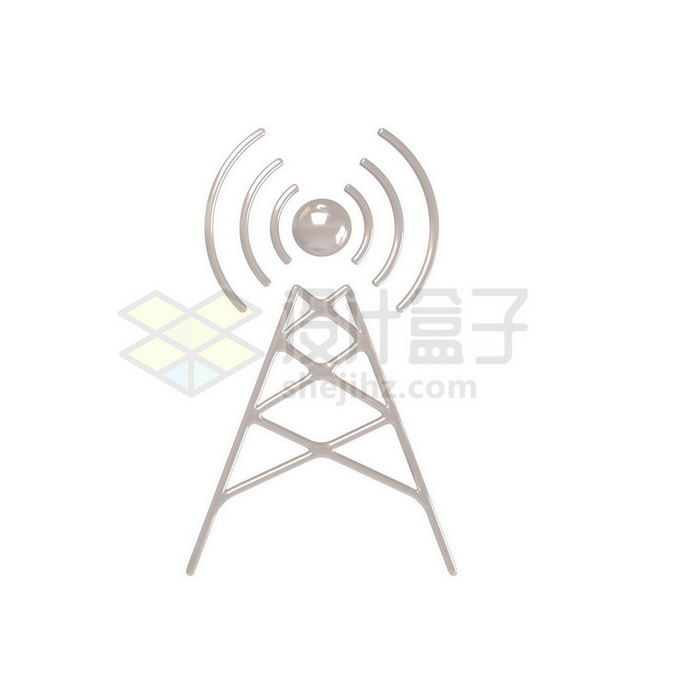 3D立体风格金属光泽无线网络铁塔发射信号2271839免抠图片素材 建筑装修-第1张