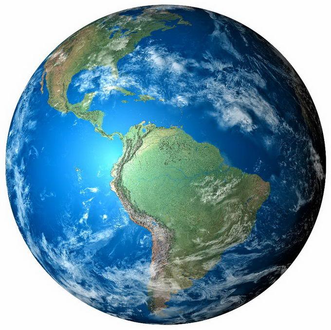 逼真的地球高清图片定位在南美洲大陆上png免抠图片素材 科学地理-第1张