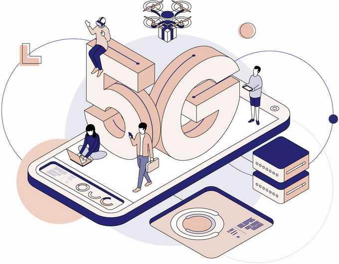 2.5D风格手机上的5G技术在未来的广泛应用插画4856036png图片素材