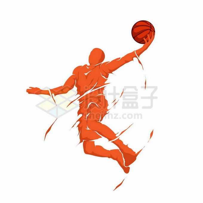 动感手绘风格橙色运动员投篮灌篮扣篮体育漫画插画7130789矢量图片免抠素材免费下载