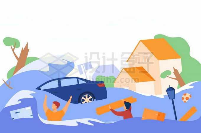 扁平化风格洪水来临被冲走的房子汽车和灾民1627489矢量图片免抠素材免费下载