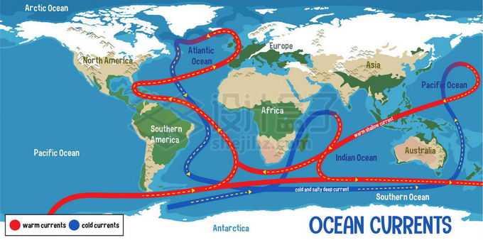 全球性的地球洋流暖流寒流示意图世界地图1404331矢量图片免抠素材免费下载