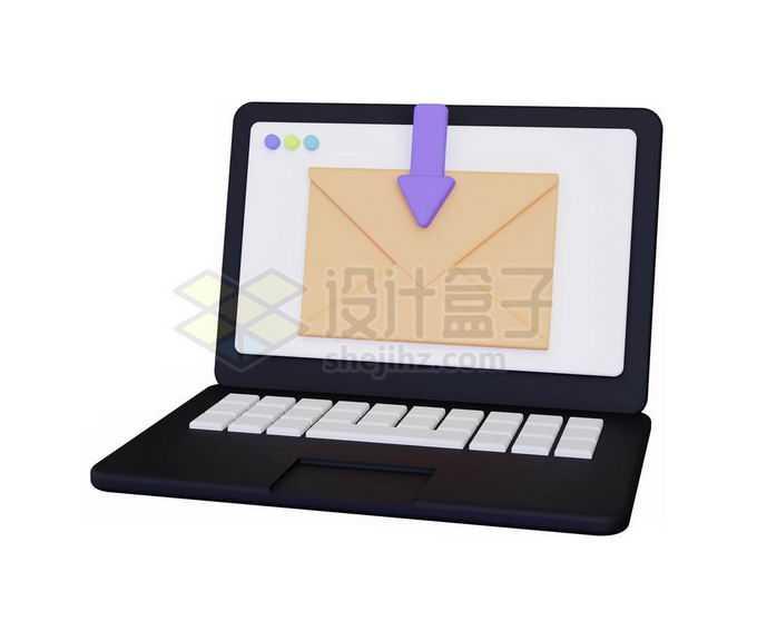 3D立体风格卡通笔记本电脑收发邮件4578888免抠图片素材