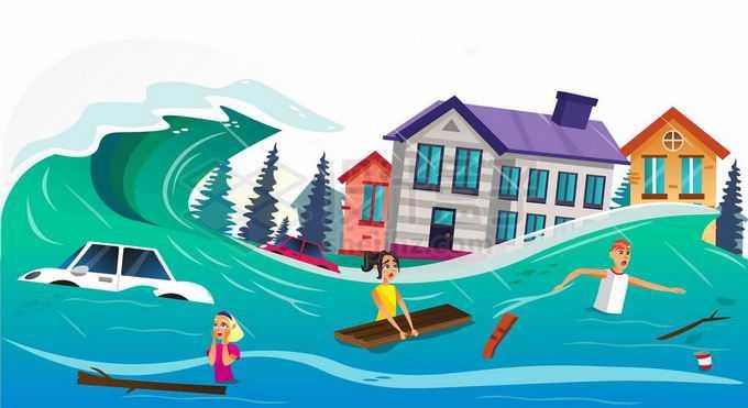 海啸洪水来临的时候在水中挣扎的灾民4503623矢量图片免抠素材免费下载