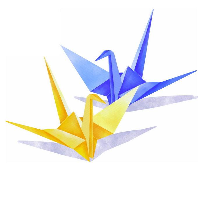 黄色和蓝色千纸鹤水彩画插画5591099免抠图片素材 休闲娱乐-第1张