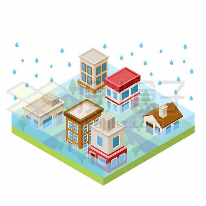 2.5D风格被洪水淹没的城市街道房子6250595矢量图片免抠素材免费下载