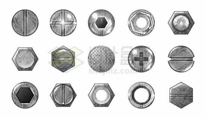 15款银色金属螺丝钉螺帽形状5864127矢量图片免抠素材