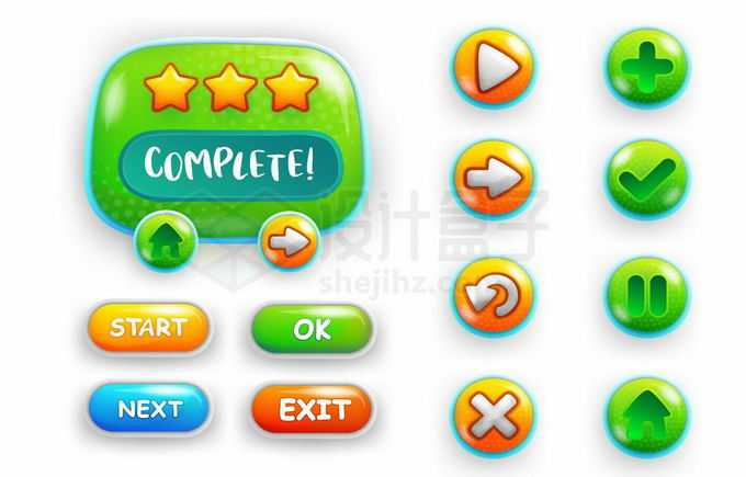 绿色的游戏UI设计超可爱的圆形卡通游戏按钮和游戏界面设计7618734矢量图片免抠素材免费下载