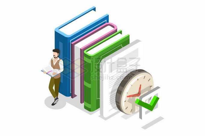 2.5D风格书籍书本和时钟象征了知识2758384矢量图片免抠素材