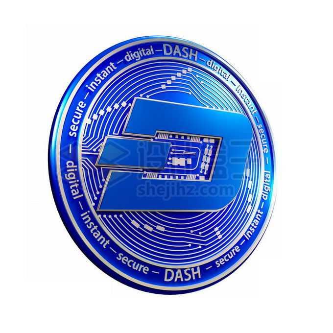 3D立体风格蓝色达世币硬币金币8938159免抠图片素材