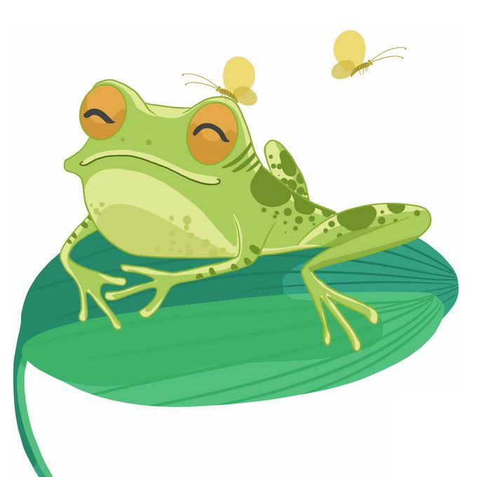 微笑的可爱卡通青蛙趴在绿叶上小虫子停在它头上4776586免抠图片素材 生物自然-第1张