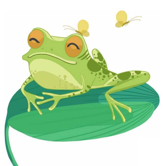 微笑的可爱卡通青蛙趴在绿叶上小虫子停在它头上4776586免抠图片素材