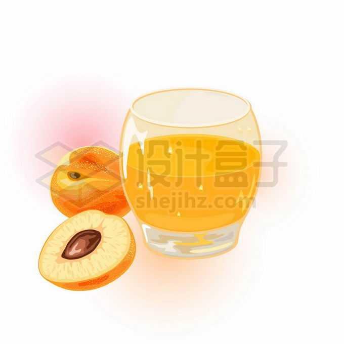 切开的黄桃美味水果和一杯黄桃汁黄色美味果汁6736444矢量图片免抠素材