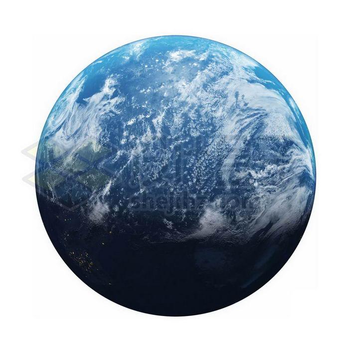 一颗飘满白云的蓝色海洋星球超级地球系外行星png免抠高清图片素材 科学地理-第1张