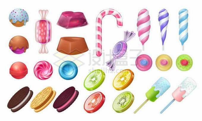 各种各样的水果糖夹心饼干冰淇淋等美味零食9391956矢量图片免抠素材