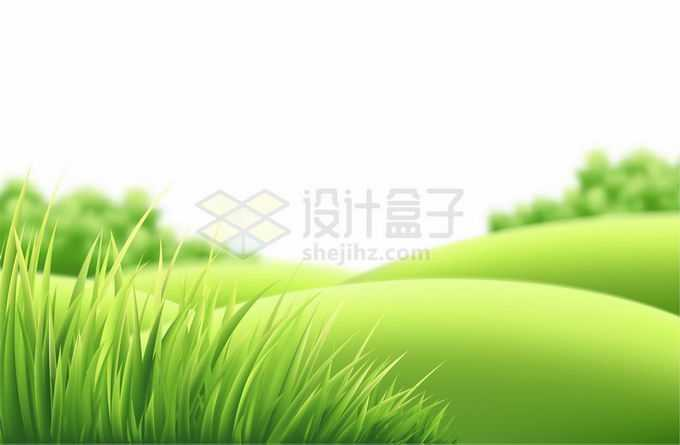 唯美风格的绿色草丛和远处的半圆形馒头山坡风景1081720矢量图片免抠素材免费下载