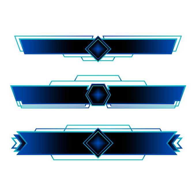 3款深蓝色科技风格游戏PK对战VS标题框2650840免抠图片素材免费下载