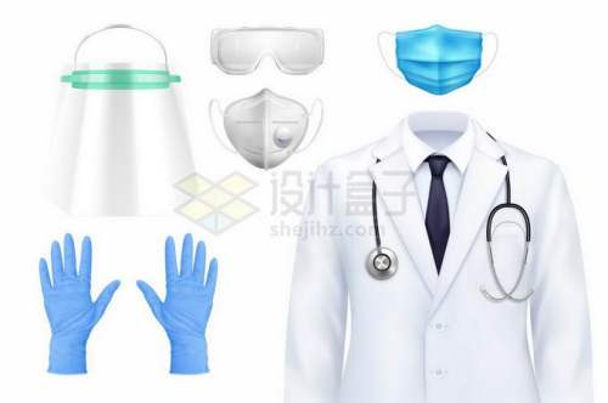 透明面罩N95口罩护目镜手套一次性口罩和白色医生服9184529矢量图片免抠素材