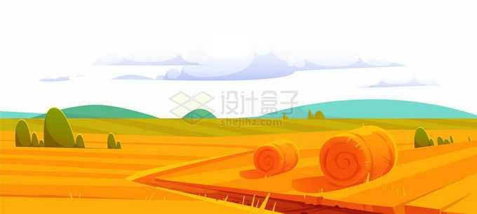 秋天金黄色的田野丰收的田地卡通乡村风景5887692矢量图片免抠素材免费下载