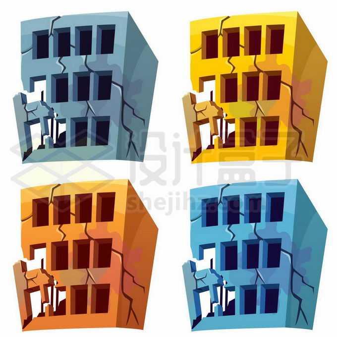 4种颜色的破裂破败不堪的卡通楼房建筑物4658828矢量图片免抠素材免费下载