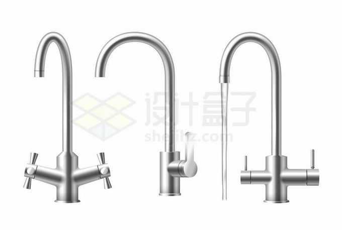 3款金属光泽的不锈钢水龙头细管冷热水水龙头1524244矢量图片免抠素材免费下载