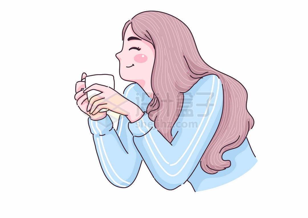 捧着咖啡杯微笑大的可爱女孩手绘插画9763331矢量图片免抠素材