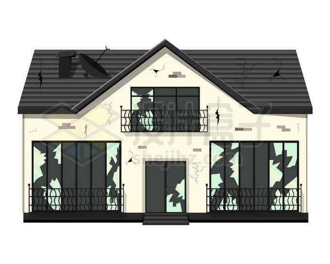 一栋破败不堪的二层小别墅房子建筑物9833506矢量图片免抠素材免费下载