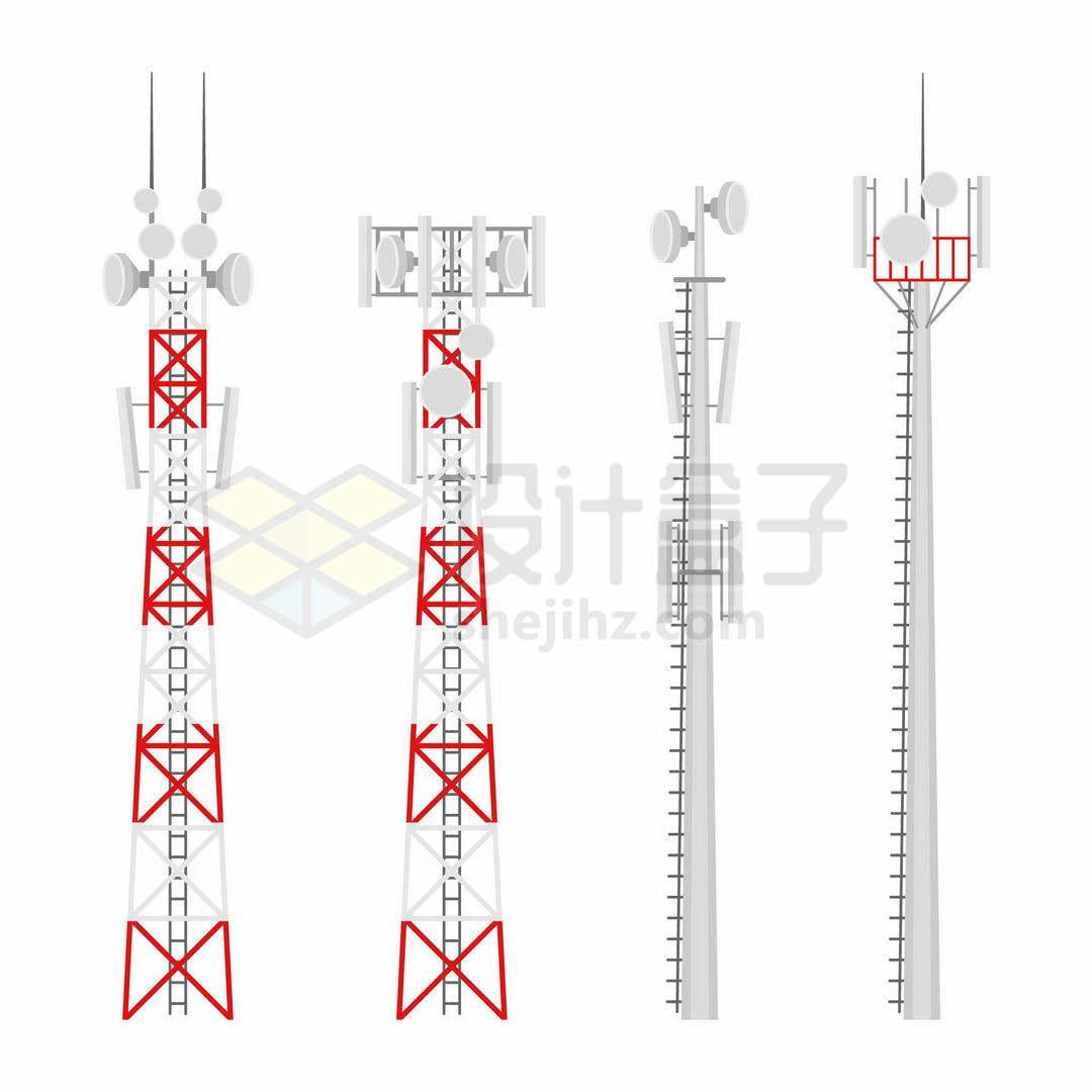 4款红色灰色的移动信号发射塔铁塔7410295矢量图片免抠素材