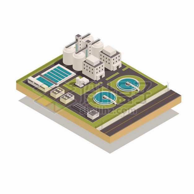 2.5D风格自来水厂污水处理厂水源净化厂1649206矢量图片免抠素材