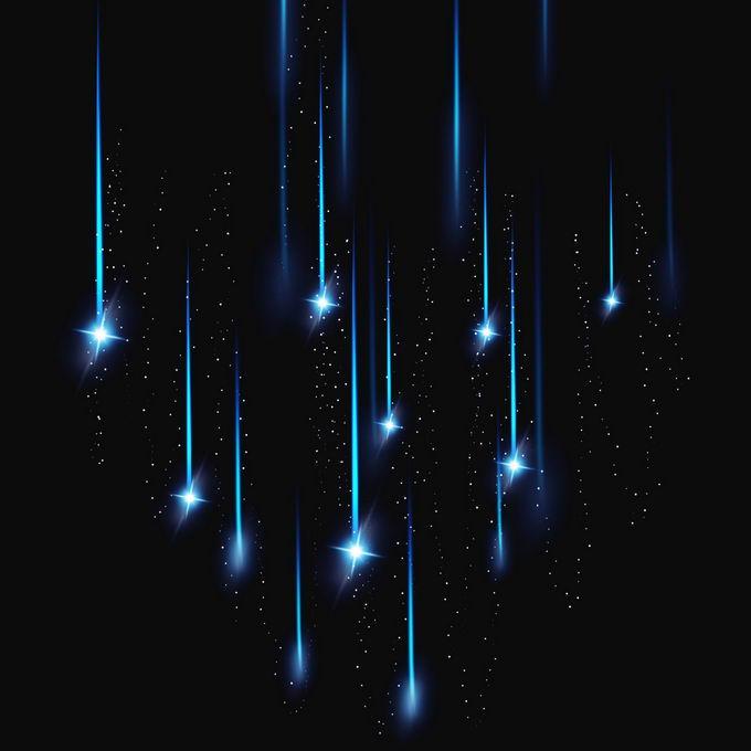 夜晚星空中的星轨流星效果快速飞行的光效果6405930图片免抠素材免费下载 效果元素-第1张