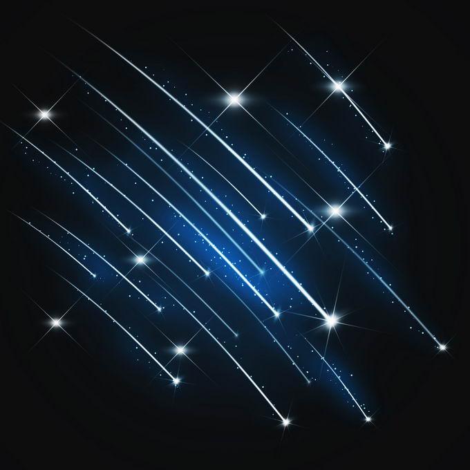 夜晚星空中的蓝白色流星雨星轨流星效果快速飞行的光效果6825510图片免抠素材免费下载 效果元素-第1张