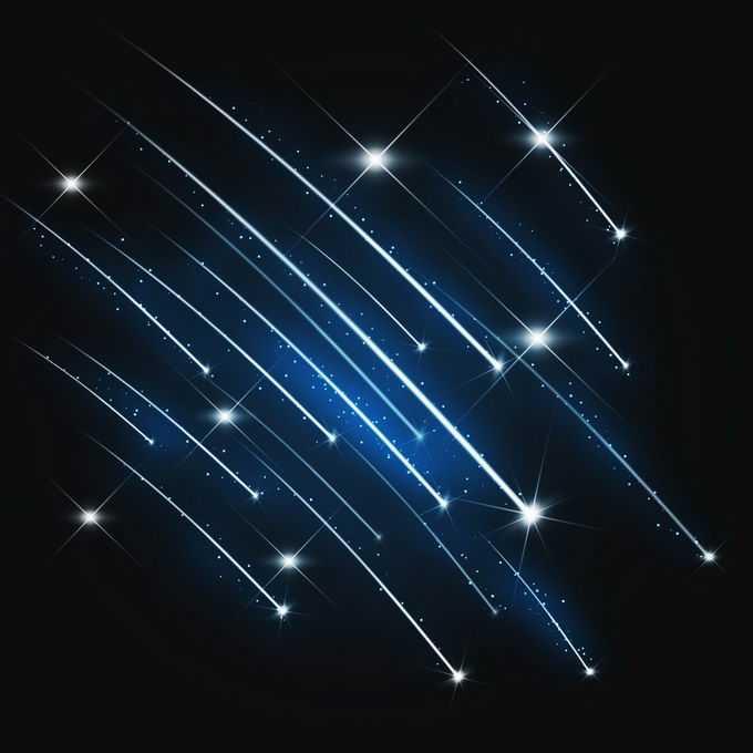 夜晚星空中的蓝白色流星雨星轨流星效果快速飞行的光效果6825510图片免抠素材免费下载