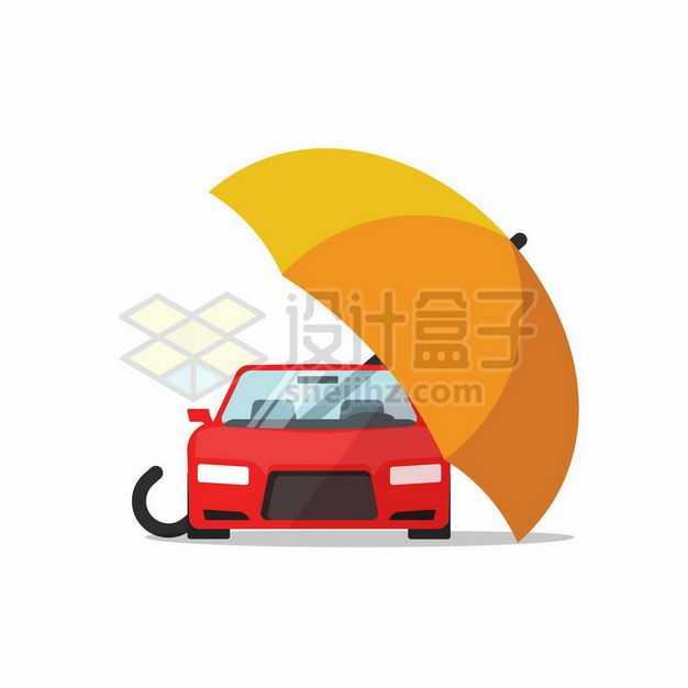 黄色雨伞下面的红色汽车象征了汽车保险业务3639723矢量图片免抠素材