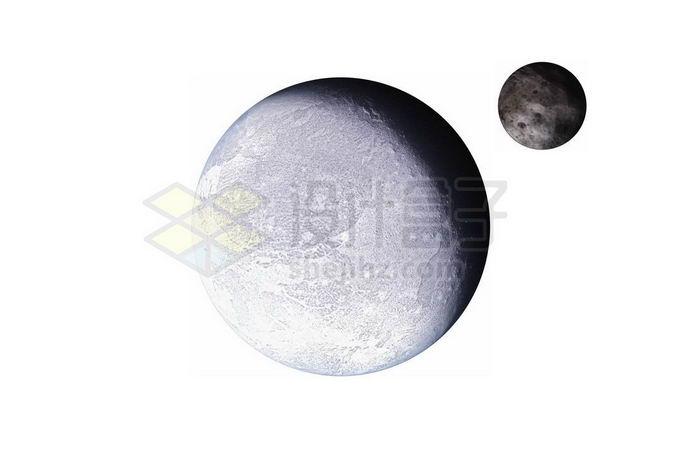 阋神星及其卫星阋卫一太阳系矮行星png免抠高清图片素材 科学地理-第1张