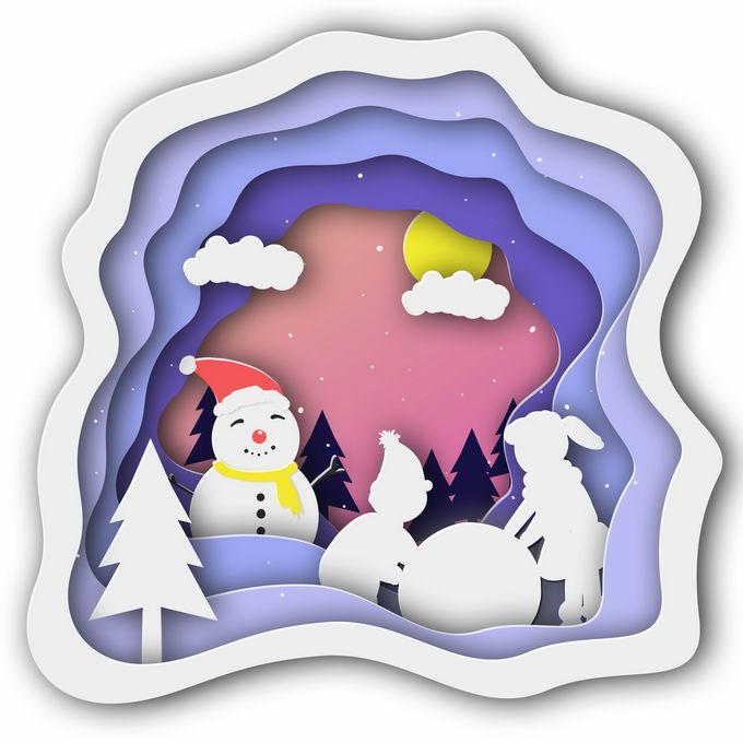 剪纸叠加风格冬天的雪人和大树雪景2702111免抠图片素材 生物自然-第1张