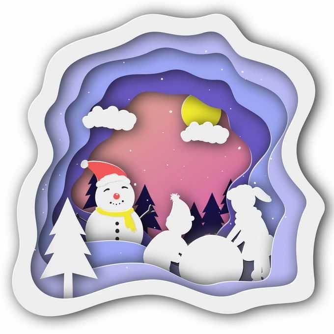 剪纸叠加风格冬天的雪人和大树雪景2702111免抠图片素材