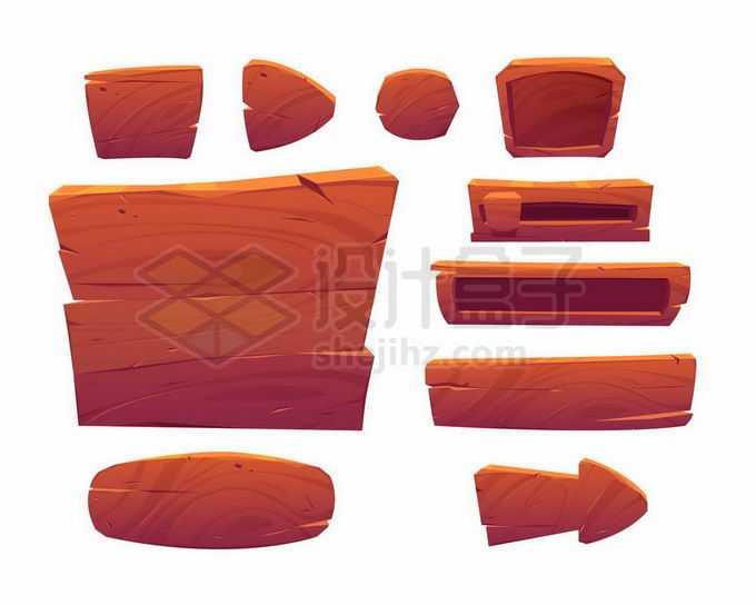 各种深色木头红木风格游戏元素按钮信息框箭头等5154559矢量图片免抠素材