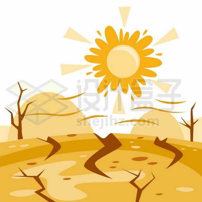 卡通太阳和干裂的大地干旱气候9645955矢量图片免抠素材免费下载