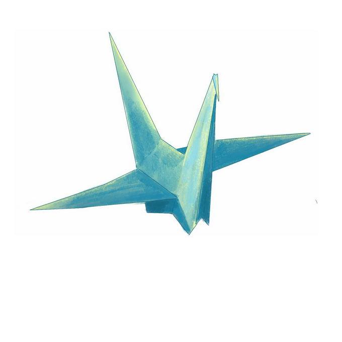 绿色的千纸鹤水彩画插画2003540免抠图片素材 休闲娱乐-第1张