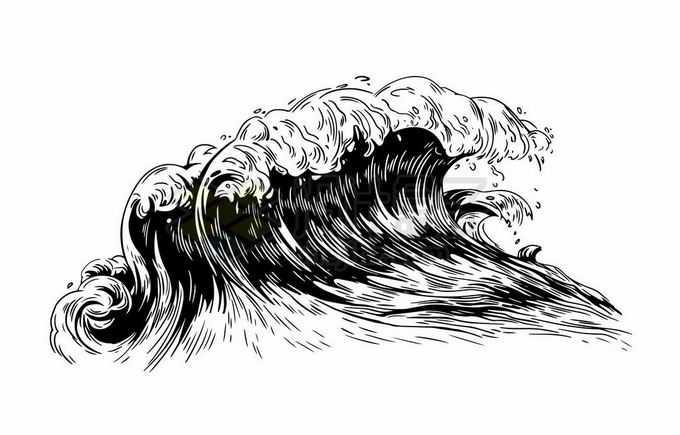 滔天巨浪海浪浪花手绘黑色插画7467477矢量图片免抠素材