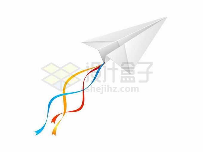 带着彩色丝带的纸飞机7488863矢量图片免抠素材