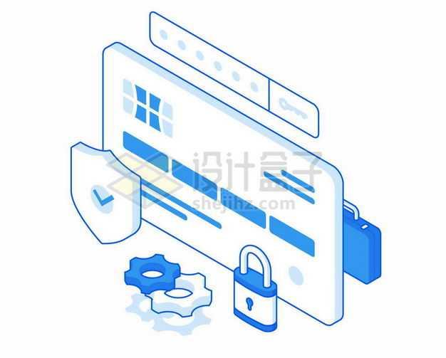 2.5D风格蓝白色网页浏览器和防护盾挂锁象征了网络信息安全2518480矢量图片免抠素材