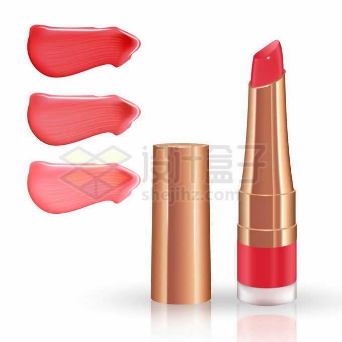 红色口红化妆品和涂抹效果8306936矢量图片免抠素材