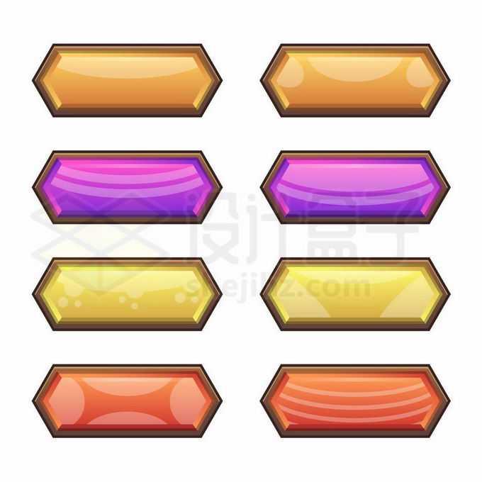 8款彩色菱形风格游戏按钮水晶按钮菜单按钮4151356矢量图片免抠素材免费下载