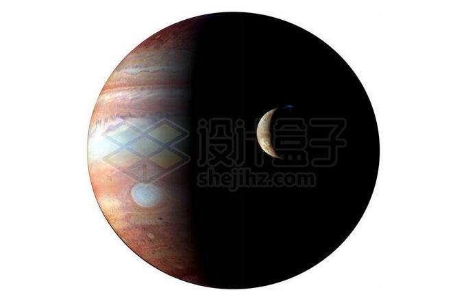 太阳系最大行星和木卫一伊奥合影png免抠高清图片素材 科学地理-第1张