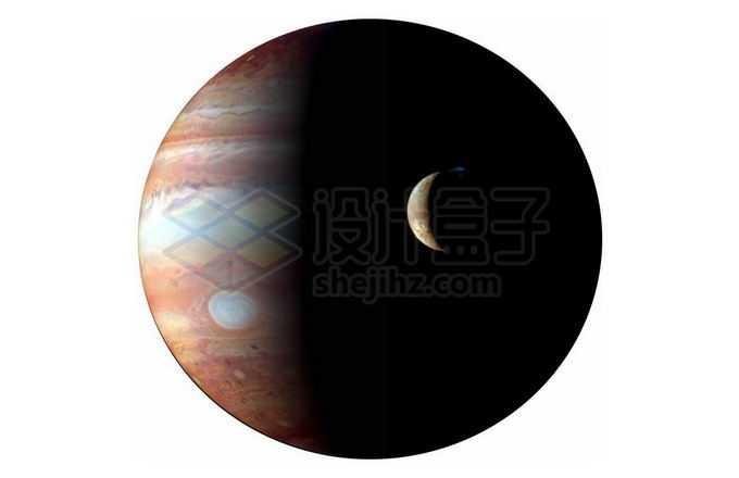 太阳系最大行星和木卫一伊奥合影png免抠高清图片素材