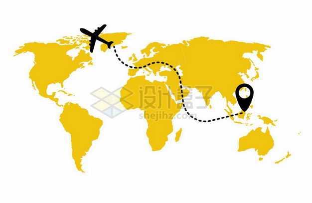 黄色世界地图上飞行的黑色飞机和路线图案环球旅行插画7460371矢量图片免抠素材