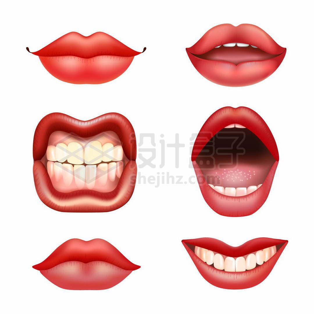 6种唇红齿白口型嘴唇嘴型7839609矢量图片免抠素材